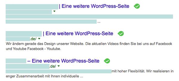 Fehler WordPress: eine weitere WordPress Seite