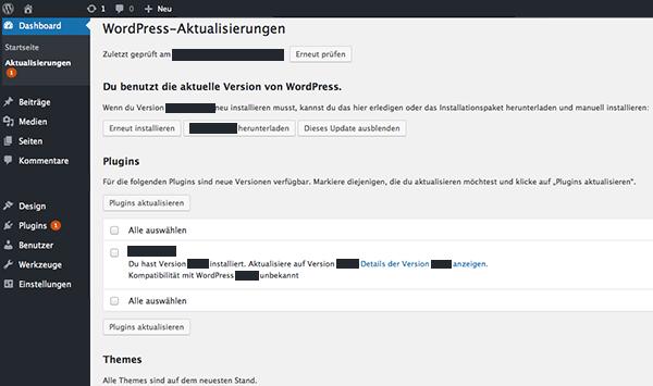 WordPress Fehler Aktualisierungen