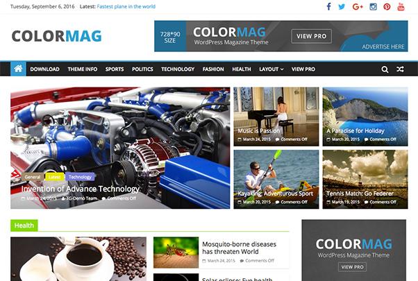 Colormag kostenloses Premium Theme